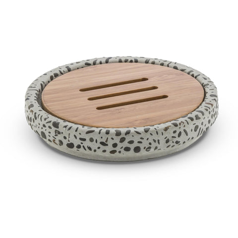 CP Graniglia Round Soap Dish Holder Tray Soap Holder, Cement and Bamboo - AGM Home Store LLC