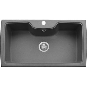 "Pogno Plados 35"" x 20"" Single Basin Granite Kitchen Drop-In Sink - AGM Home Store LLC"