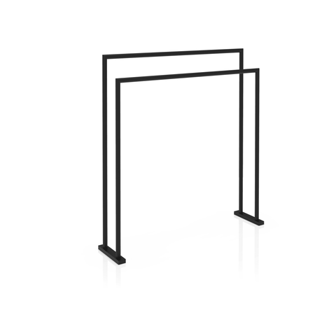 HT 5 Standing Towel Bathroom Rack Stand Double Bar Towel Holder, Matte Black - AGM Home Store LLC