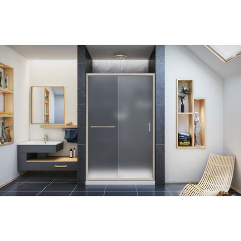 Infinity-Z 44-48 in. W x 72 in. H Semi-Frameless Sliding Shower Door, Frosted Glass - AGM Home Store LLC