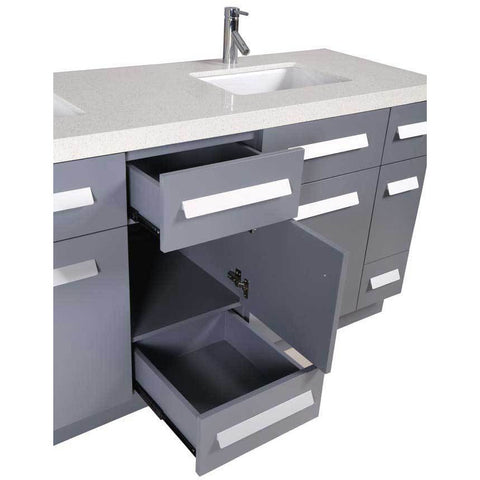 "Design Element Moscony 72"" Double Sink Vanity Set in Gray with White Sparkling Quartz Countertop, J72-DS-G - AGM Home Store LLC"