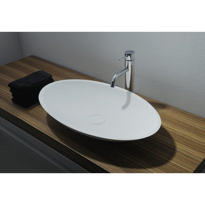 Ideavit Jazz Solid Surface Vessel Sink Bowl Above Counter Sink Lavatory for Vanity Cabinet - AGM Home Store LLC