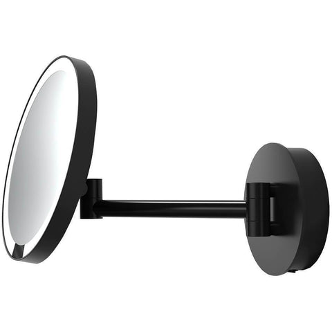 JUST LOOK WR Wall Black One Sided LED Cosmetic 5X Makeup Magnifying Mirror, Extendable - AGM Home Store LLC