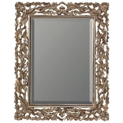 GM Luxury Judie Rectangular Decorative Wall Art Hand Carved Mirror, Antique Silver Leaf 30.7x38.6 - AGM Home Store LLC