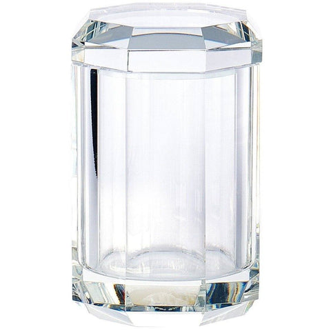 KR BMD Round Cotton Ball Swab Holder with Lid, Q Tip Holder Jar Canister for Bath, Glass - AGM Home Store LLC