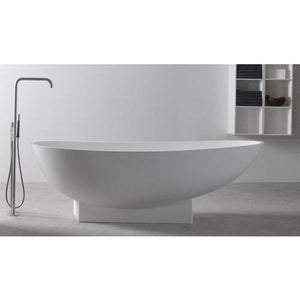 Ideavit Solidleaf Egg Shape Freestanding Bathtub in White Matte Solid Surface - AGM Home Store LLC