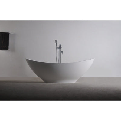 Ideavit Solidlectus Freestanding Bathtub in White Matte Solid Surface - AGM Home Store LLC