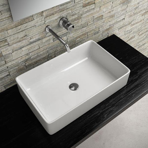 Gio White Rectangular Ceramic Vessel Sink Above Counter Sink Lavatory Washbasin - AGM Home Store LLC