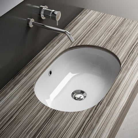 Gio White Oval Undermount Ceramic Sink Bowl Sink Lavatory Washbasin - AGM Home Store LLC