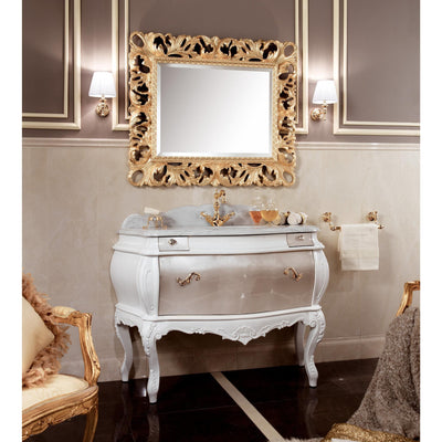 "GM Luxury Laguna 51.6"" White Bathroom Vanity Cabinet Set Single Sink Silver Leaf - AGM Home Store LLC"