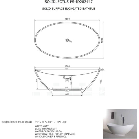 Solidlectus 71 x 39 in. Freestanding Bathtub in White Matte Solid Surface - AGM Home Store LLC