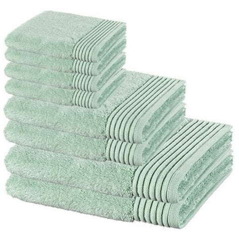 8 Pcs Premium Cotton Towel Set, 2 Bath Towels, 2 Hand Towels and 4 Washcloths - Light Green - AGM Home Store LLC