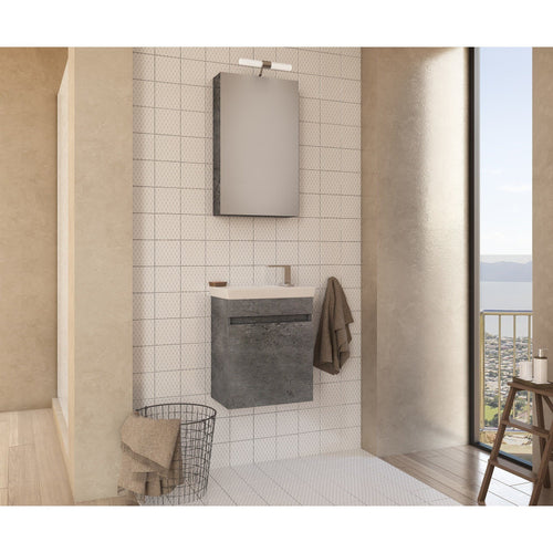 "DP Wall Bath Vanity Cabinet Set 17.7"" Single Sink W/ Laminated Granite Finish - AGM Home Store LLC"