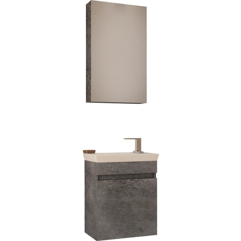 "DP Wall Bath Vanity Cabinet Set 17.7"" Single Sink W/ Laminated Granite Finish"