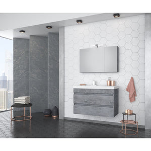 "DP Wall Bath Vanity Cabinet Set 33.5"" Single Sink W/ Laminated Granite Finish - AGM Home Store LLC"