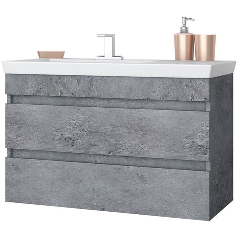 "DP Wall Bath Vanity Cabinet Set 33.5"" Single Sink W/ Laminated Granite Finish"