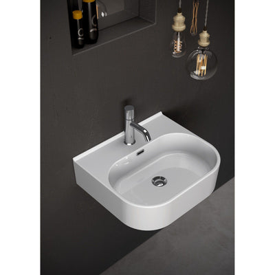 Syn White Rectangular Ceramic Sink Lavatory Washbasin, One Faucet Hole, Overflow - AGM Home Store LLC