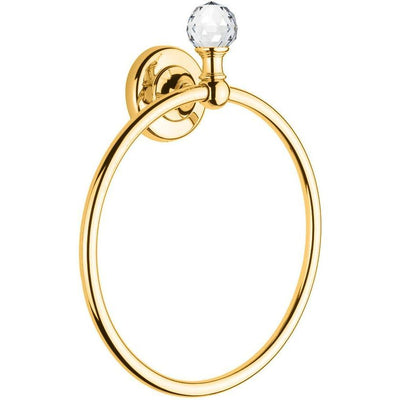 Lux Madras Swarovski Towel Ring Bar Holder Bath Hand Towel Holder Towel, Brass - AGM Home Store LLC