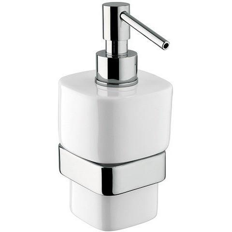 BA Modulo Wall Mounted Ceramic Pump Soap Lotion Dispenser Bath or Kitchen, Brass - AGM Home Store LLC