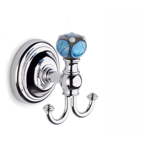 Lux Murano Turquoise  Wall Double Towel Robe Hook Hanger for Bath Towel Holder, Brass Chrome - AGM Home Store LLC