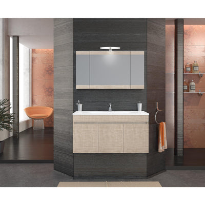 "DP Wall Bath Vanity Cabinet Set 40"" Single Sink W/ Laminated Beige Oak Finish - AGM Home Store LLC"
