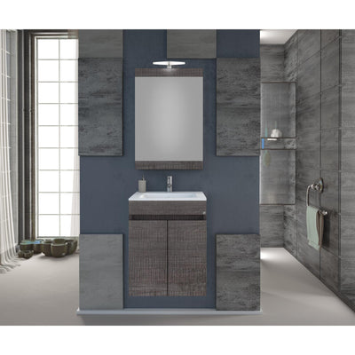 "DP Wall Bath Vanity Cabinet Set 16"" Single Sink W/ Laminated Dark Gray Oak Finish - AGM Home Store LLC"