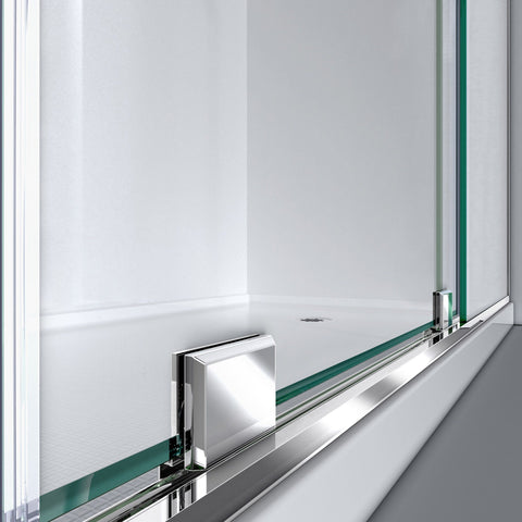 Mirage-X 44-48 in. W x 72 in. H Frameless Sliding Shower Door, Right Wall Installation - AGM Home Store LLC