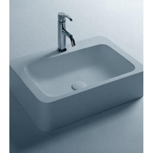 Ideavit Mood Rectangular  Solid Surface Vessel Sink Bowl Above Counter Sink Lavatory for Vanity Cabinet - AGM Home Store LLC