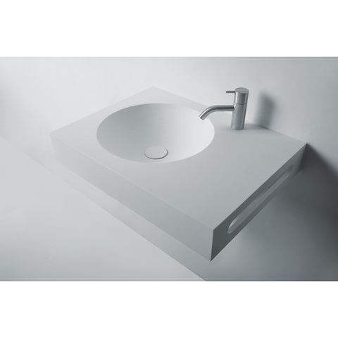 "Ideavit 24"" Wall Mounted Single Sink Bathroom Vanity with Side Towel Bar, White Solid Surface"