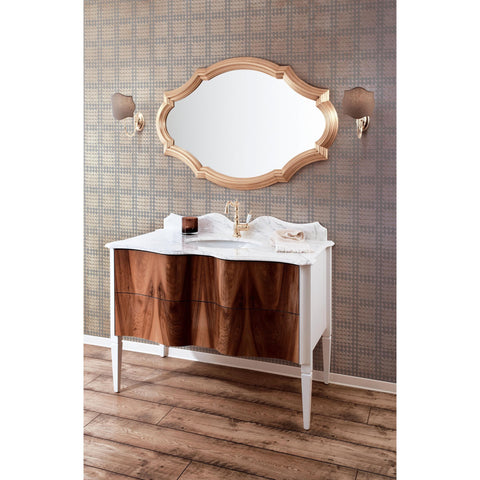 "GM Luxury Nouveau 48.4"" Bath Vanity Cabinet Set Single Sink, Briar Wood and White - AGM Home Store LLC"