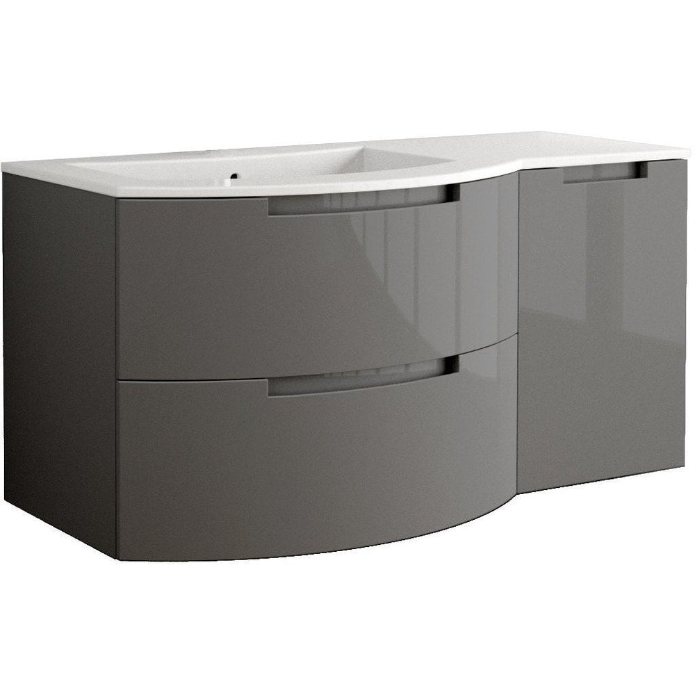 Oasis 53 in. Wall Mounted Bathroom Vanity Right Cabinet Set Bath Furniture - AGM Home Store LLC