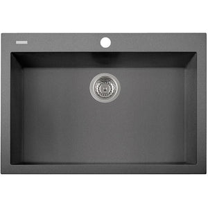 "Pogno Plados 30"" x 20"" Single Basin Granite Kitchen Drop-In Sink in a Titanium Finish - AGM Home Store LLC"
