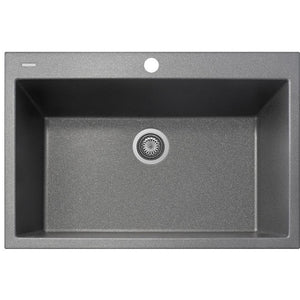 "Drop In Sink Titanium FInish Pogno Plados 33"" x 22"" Single Basin Granite Kitchen - AGM Home Store LLC"