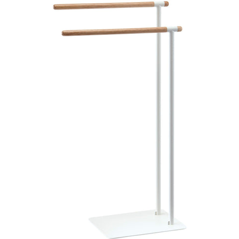 Oscar Standing Double Towel Rack for Bathroom Spa Towel Hanger, Wood Rails - AGM Home Store LLC