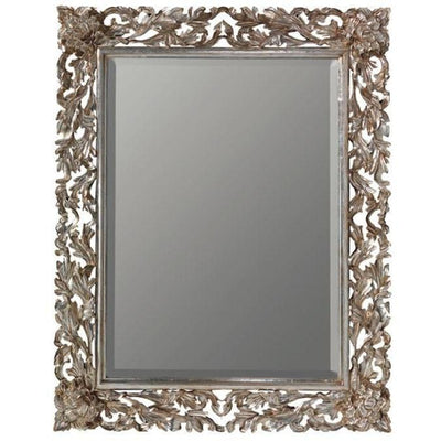 GM Luxury Olivier Rectangular Decorative Wall Art Hand Carved Mirror, Antique Silver Leaf 35.4x47.2 - AGM Home Store LLC