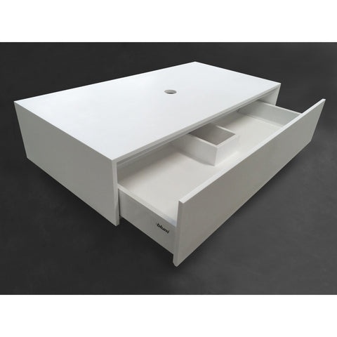"Ideavit 35"" Small Wall Mounted Single Sink Bathroom Vanity with Drawers, White Solid Surface"