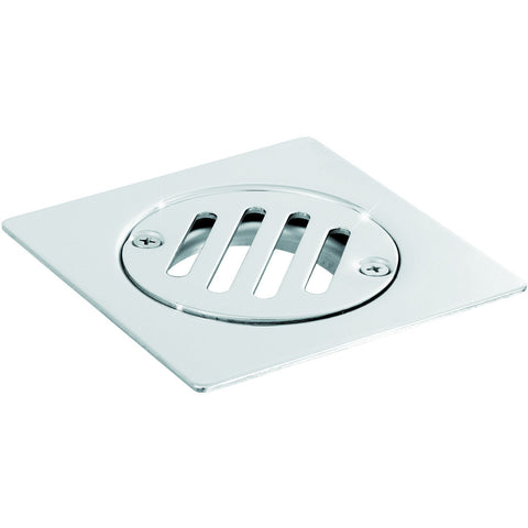 "ME Steel Aisi 304 Shower Floor Drain 3.9""x3.9"" Fixed Cover Polished Chrome - AGM Home Store LLC"