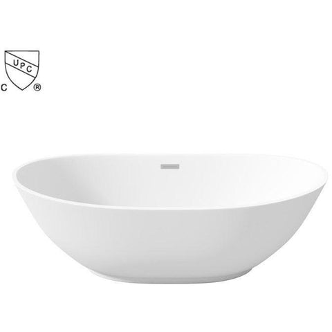 LaToscana Oval Perlato Roma Freestanding Soaking Bathtub, White Gloss Acrylic - AGM Home Store LLC