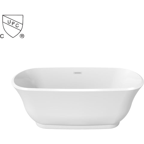 Oval Perlato Sona Freestanding Soaking Bathtub, White Gloss Acrylic - AGM Home Store LLC