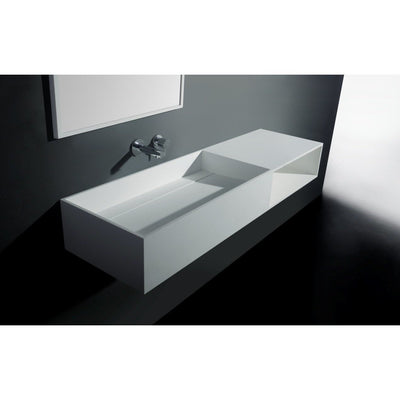 "Ideavit 55"" Wall Mounted Single Sink Bathroom Vanity with One Shelf, White Solid Surface - AGM Home Store LLC"