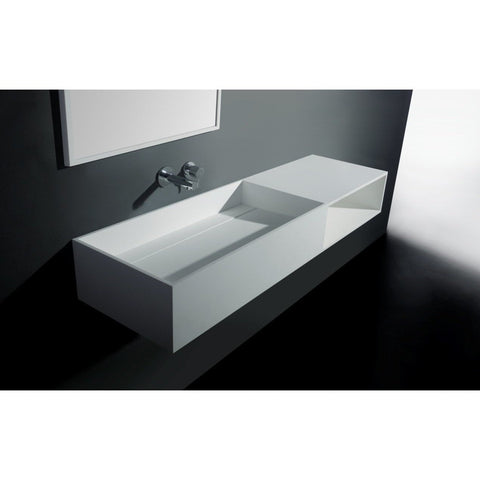 "Ideavit 55"" Wall Mounted Single Sink Bathroom Vanity with One Shelf, White Solid Surface"