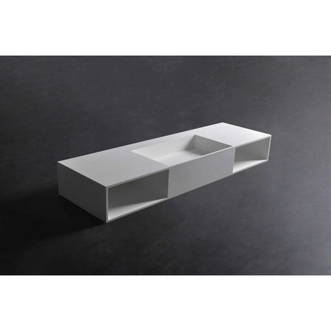 Ideavit Wall Mounted Single Sink Bathroom Vanity with 2 Shelves / 2 Drawers, White Solid Surface