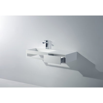 "Ideavit 35"" Wall Mounted Single Sink Bathroom Vanity with One Drawer & Towel Bar, White Solid Surface - AGM Home Store LLC"