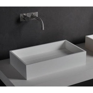 Ideavit Pure Rectangular  Solid Surface Vessel Sink Bowl Above Counter Sink Lavatory for Vanity Cabinet - AGM Home Store LLC