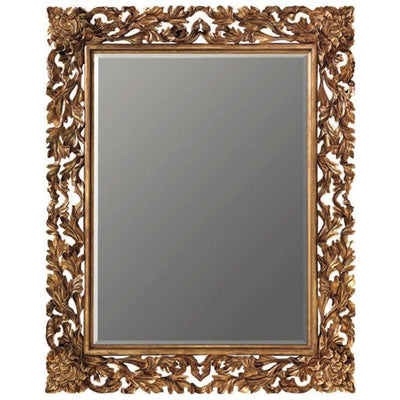 GM Luxury Pascal Rectangular Decorative Wall Art Hand Carved Mirror, Antique Gold Leaf 55x67 - AGM Home Store LLC