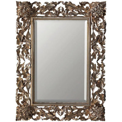 GM Luxury Pierre Rectangular Decorative Wall Art Hand Carved Mirror, Antique Silver Leaf 55x90.6 - AGM Home Store LLC