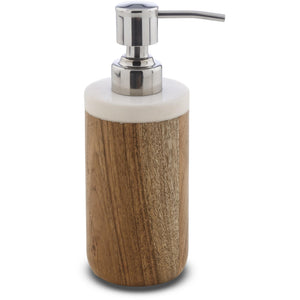 CP Prajat Round Bathroom Pump Soap Lotion Dispenser, Wood and Marble - AGM Home Store LLC