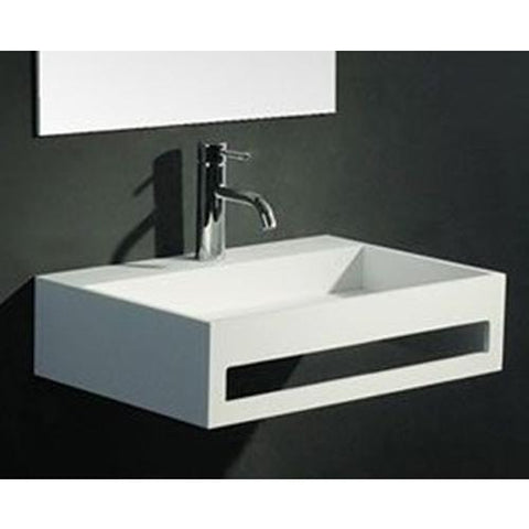 "Ideavit 24"" Wall Mounted Single Sink Bathroom Vanity with Towel Bar, White Solid Surface - AGM Home Store LLC"