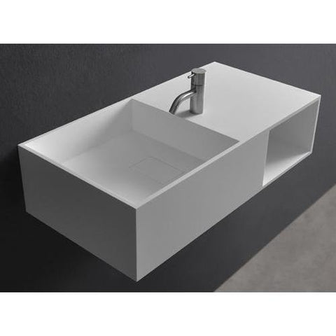 Solidplan 16 in. Wall Mounted Single Sink Bathroom Vanity with One Shelf, White Solid Surface - AGM Home Store LLC