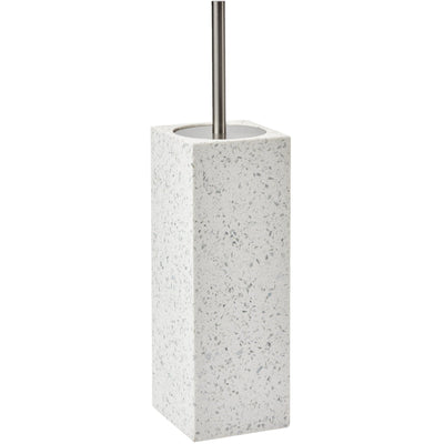 Quartz White Terrazzo Rectangular Standing Toilet Brush Holder Cleaner Set - AGM Home Store LLC